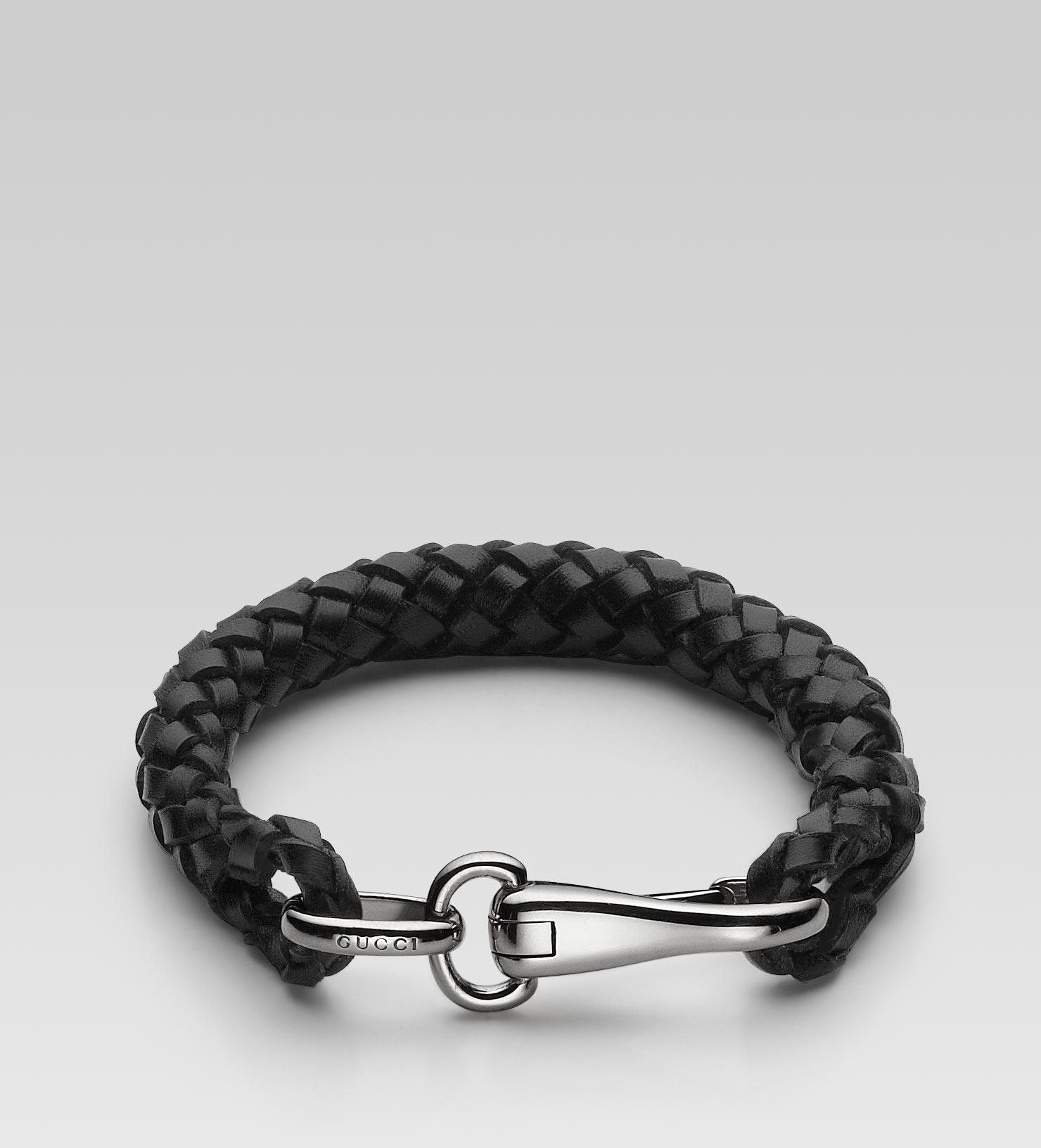 737741474af3 Lyst Gucci Bracelet With Clasp In Black For Men