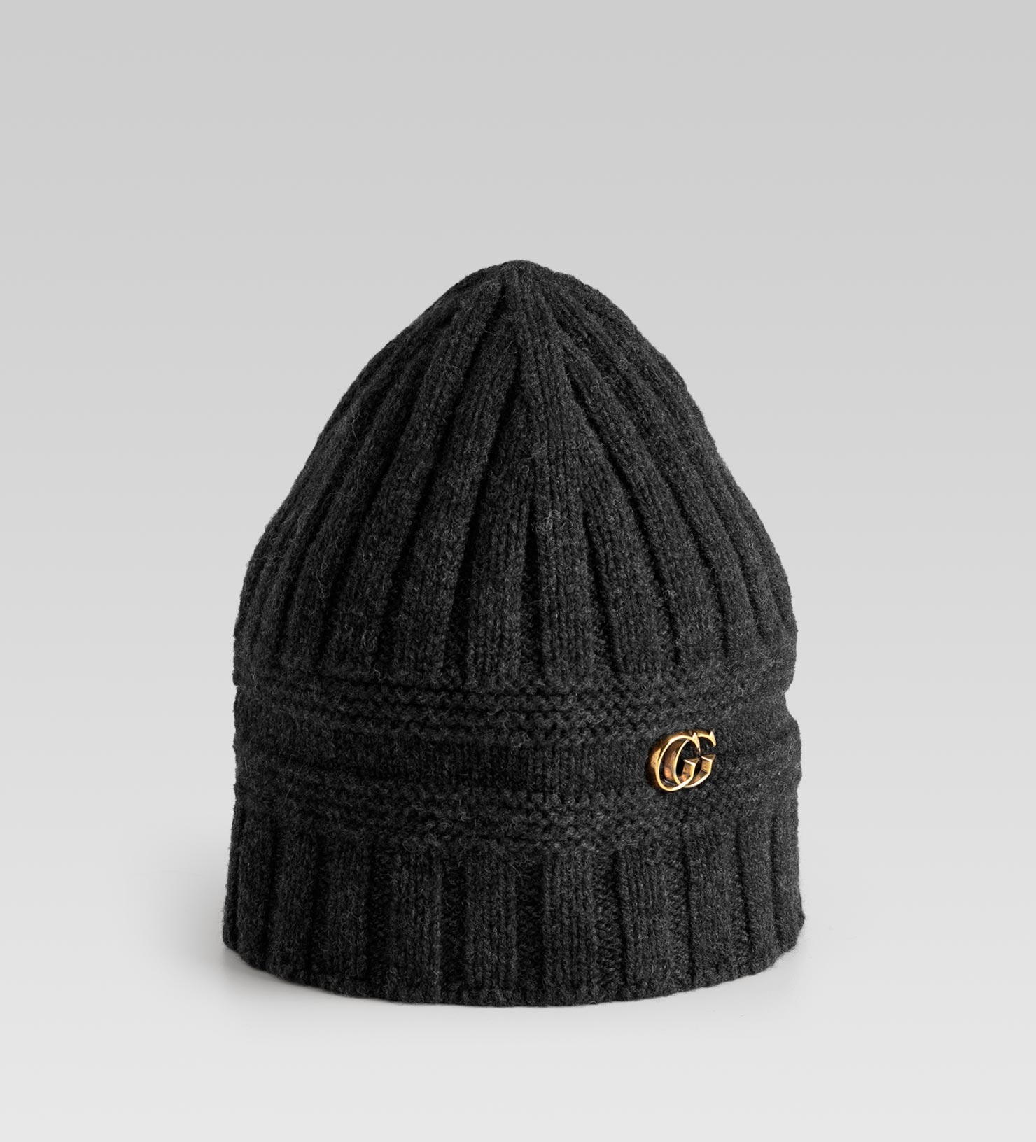 87e49741f8bd3 Lyst - Gucci Knit Hat with Double G Detail in Gray for Men