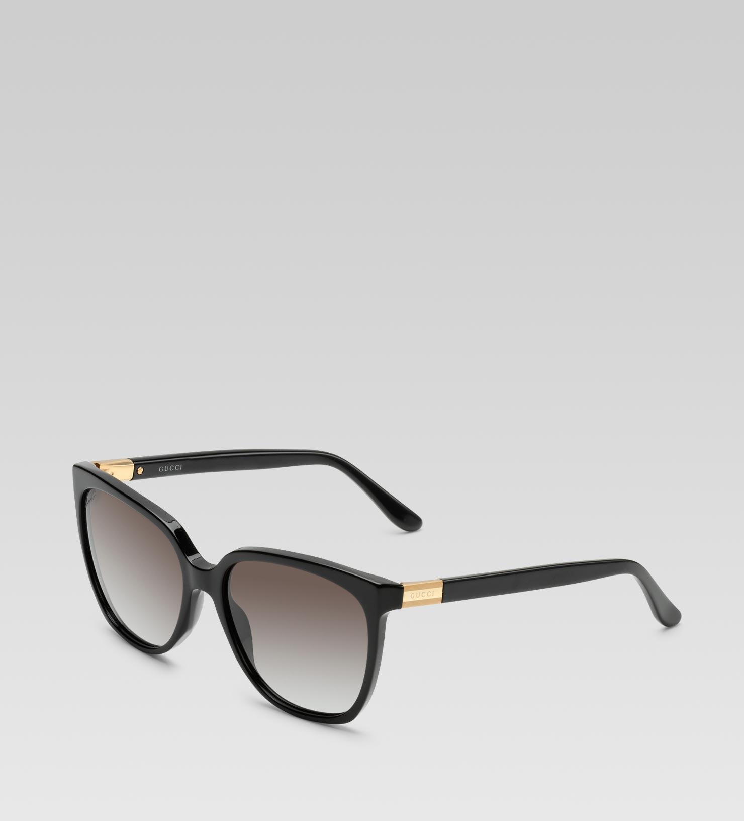 66cc9668a6 Gucci Medium Square Frame Sunglasses with Gucci Web Plaque Logo and ...