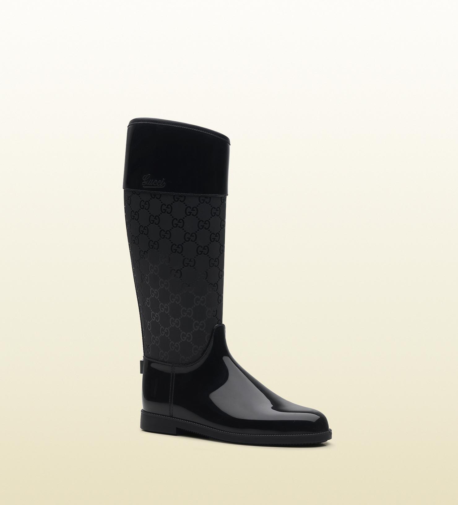 gucci rain boots black