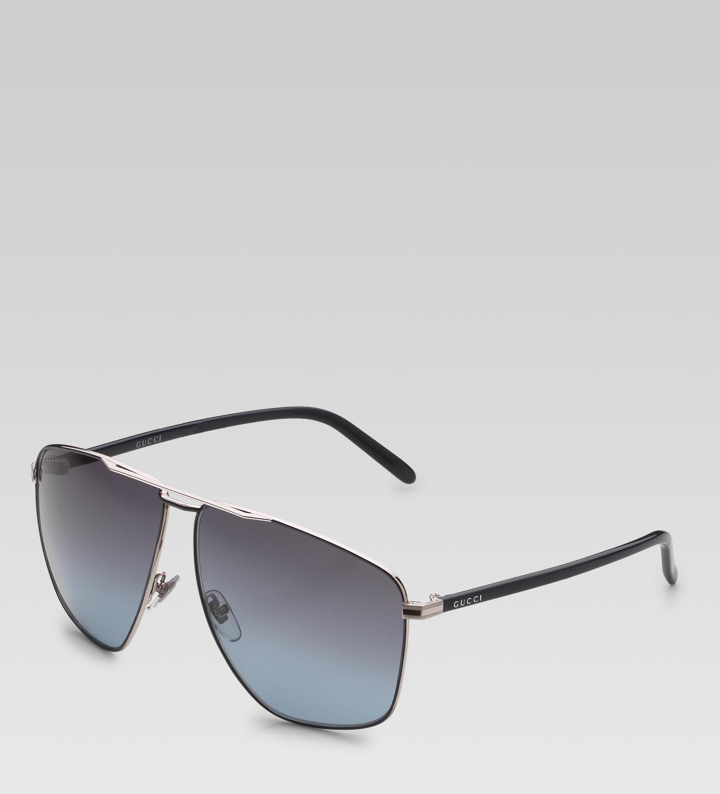 0078c5c5add Lyst - Gucci Medium Rectangle Frame Sunglasses with Gucci Logo On ...