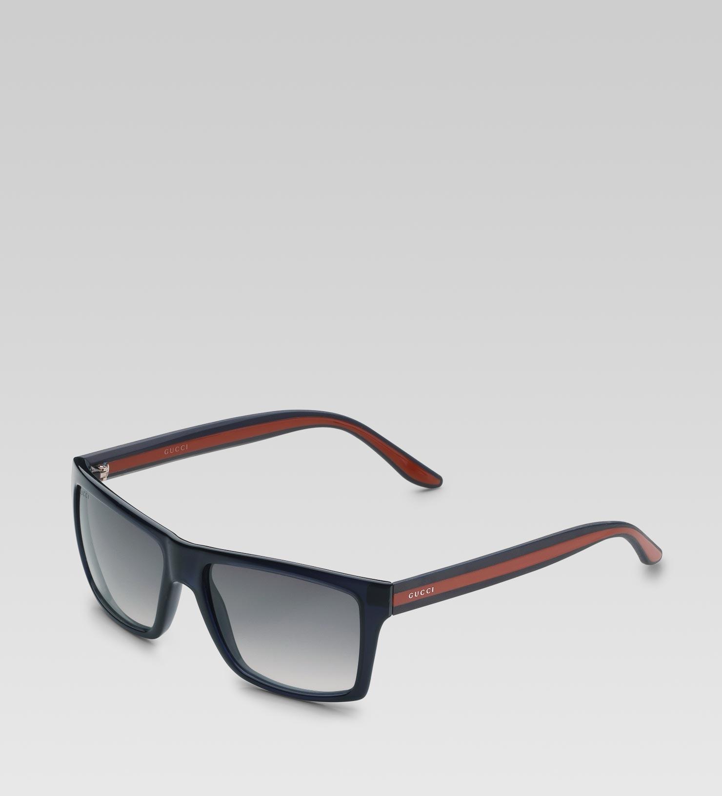 9bc648e0ac5 Lyst - Gucci Medium Rectangle Frame Sunglasses With Logo On Web ...