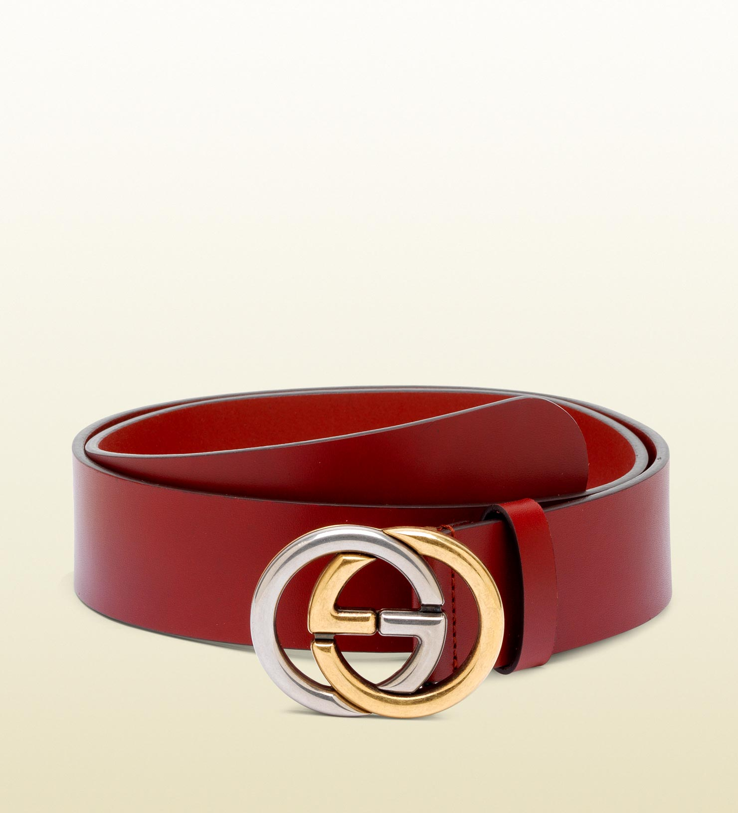 1896d58454b3 Lyst - Gucci Belt with Bicolor Interlocking G Buckle in Red for Men