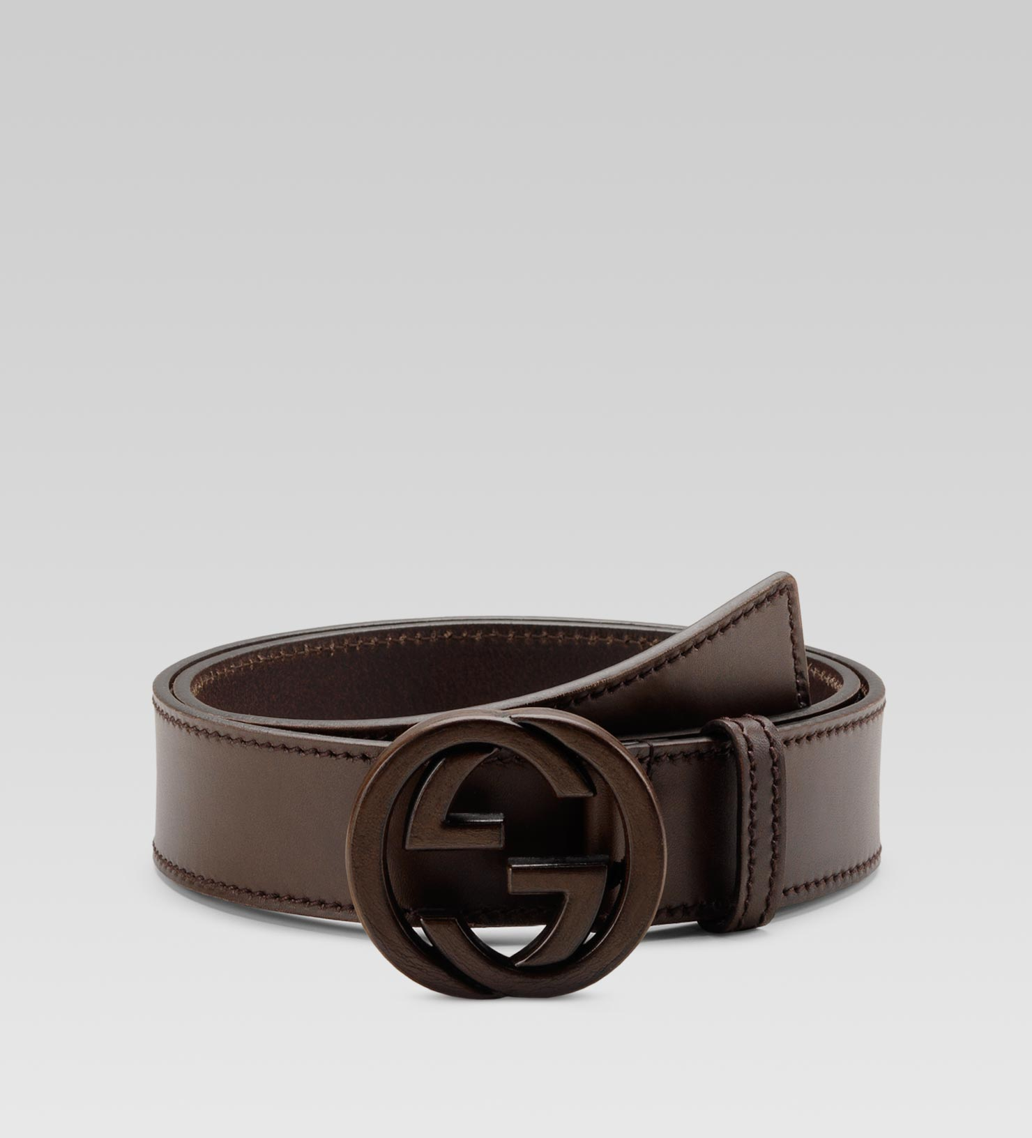 gucci belt with leather interlocking g buckle in brown for