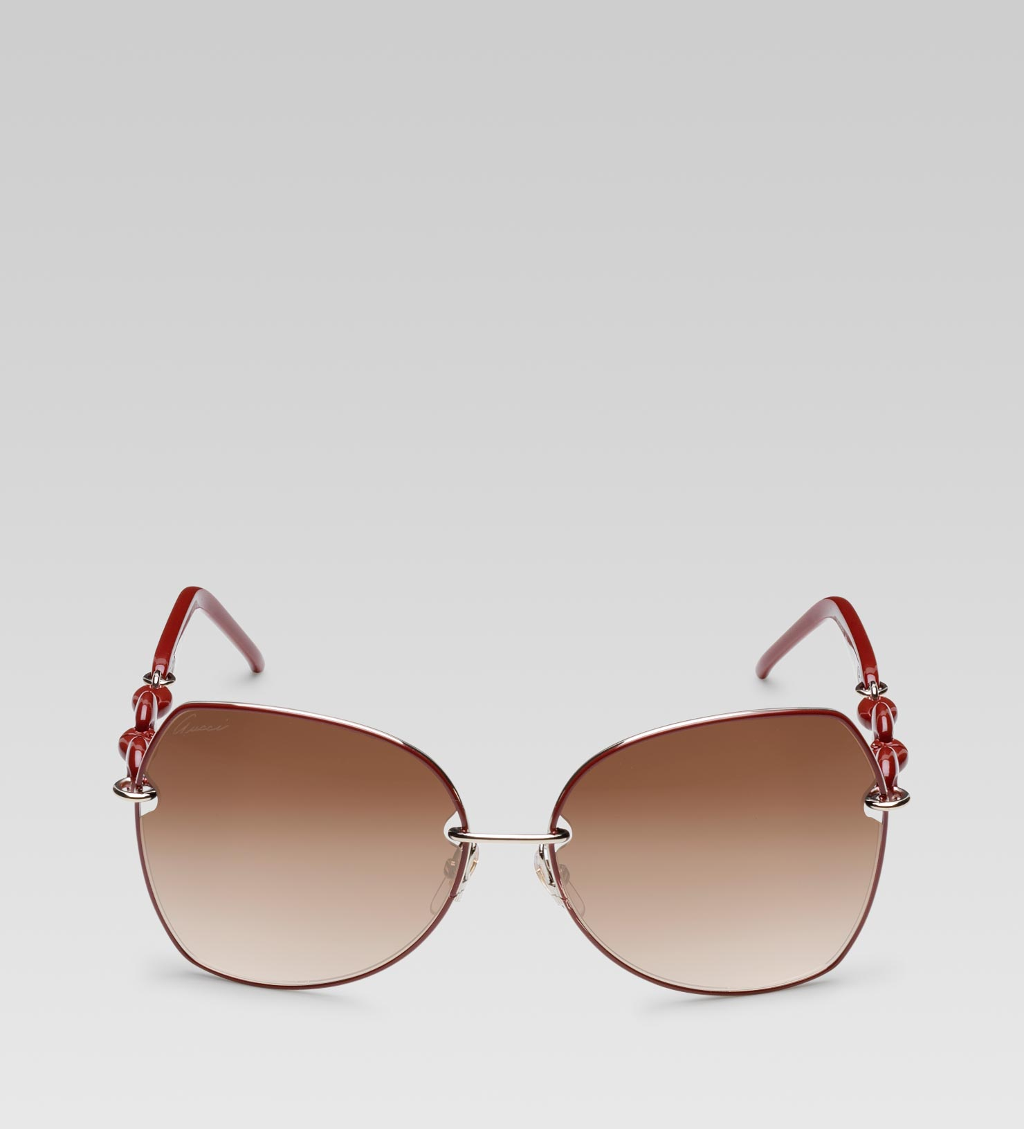 8cfe08382ee Gucci Medium Oval Frame Sunglasses with Plastic Marina Chain Temples ...