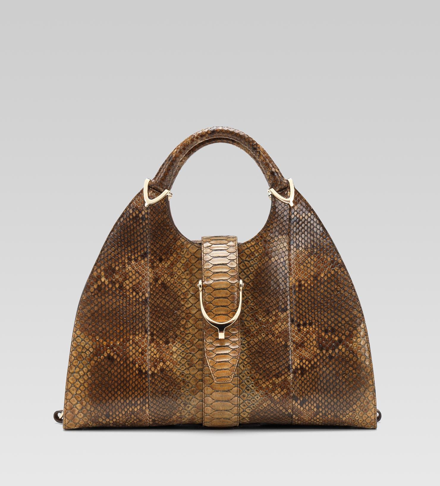 1f5776bafdaf Gucci Stirrup Brown Python Top Handle Bag in Brown - Lyst