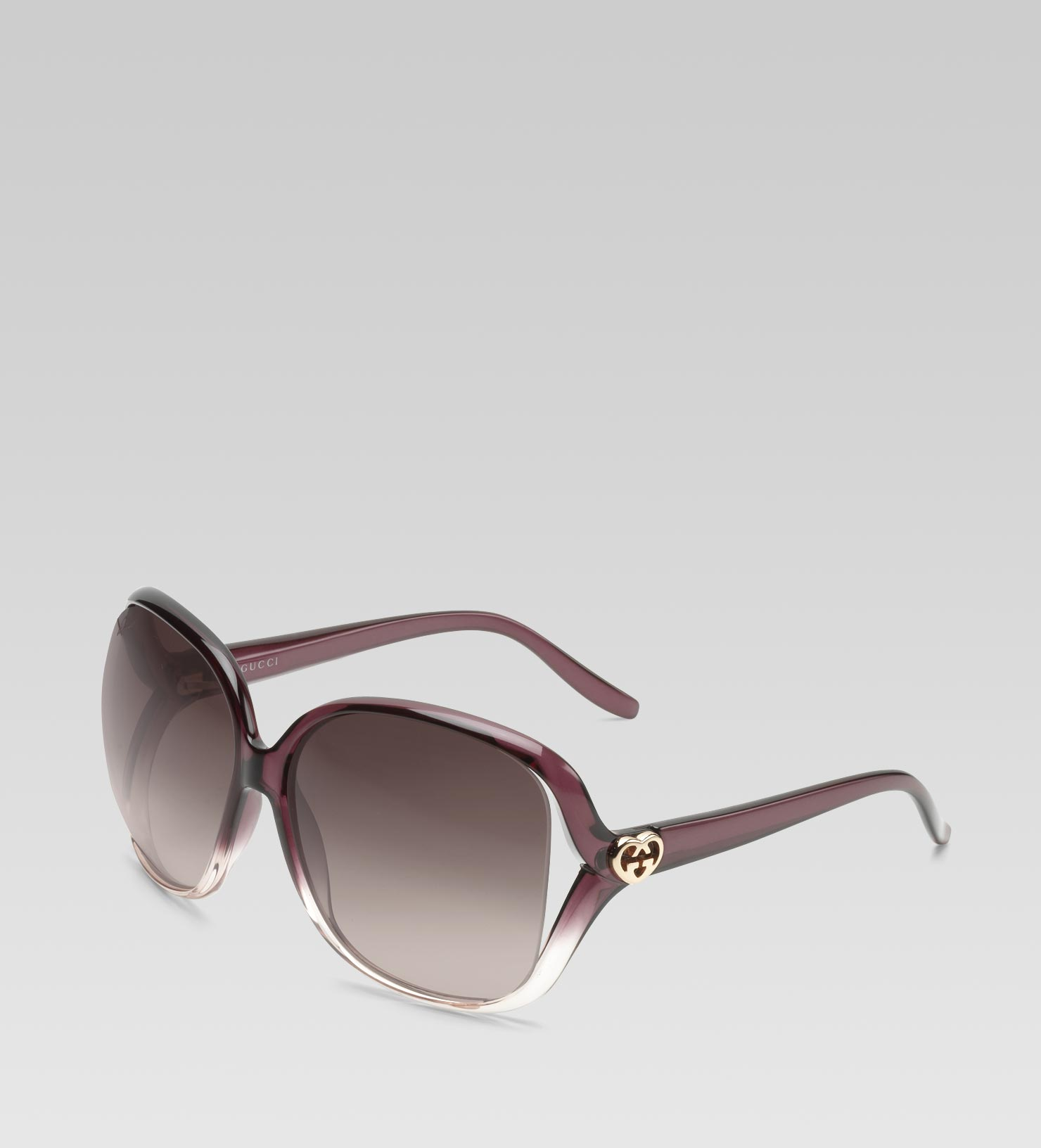 e4a2d44880ce1 Gucci Medium Square Frame Sunglasses With Heart-shaped Interlocking ...