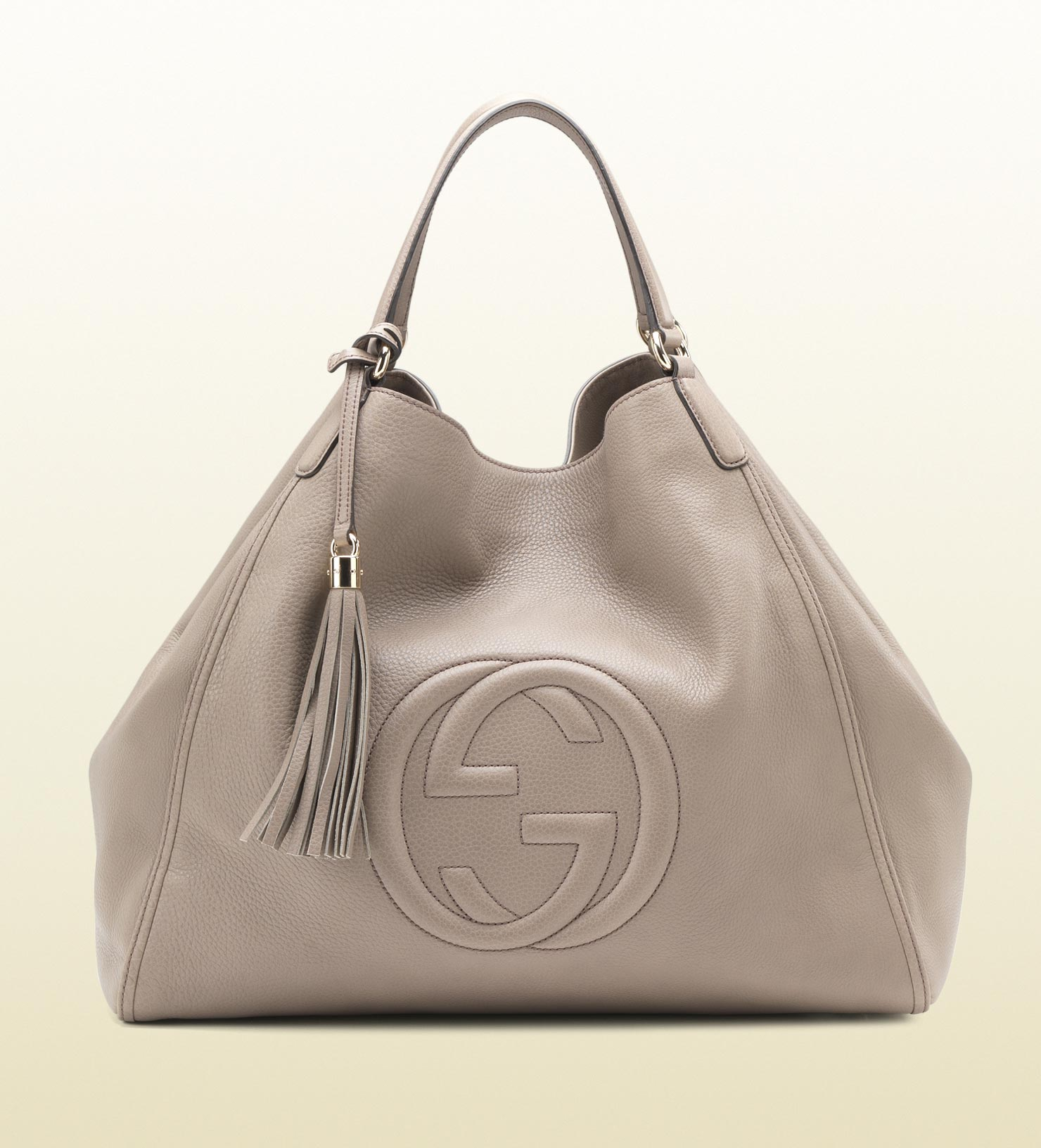 gucci soho leather shoulder bag in gray lyst. Black Bedroom Furniture Sets. Home Design Ideas