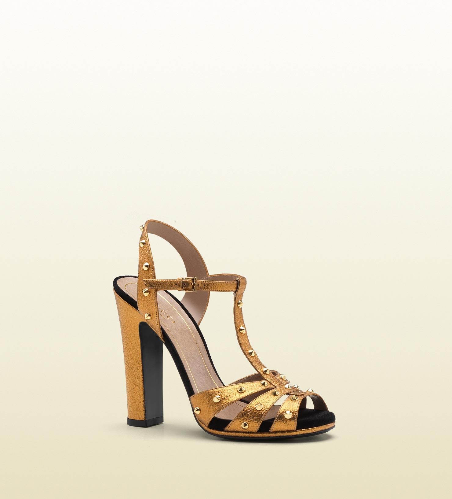 Gold Sandals High Heels