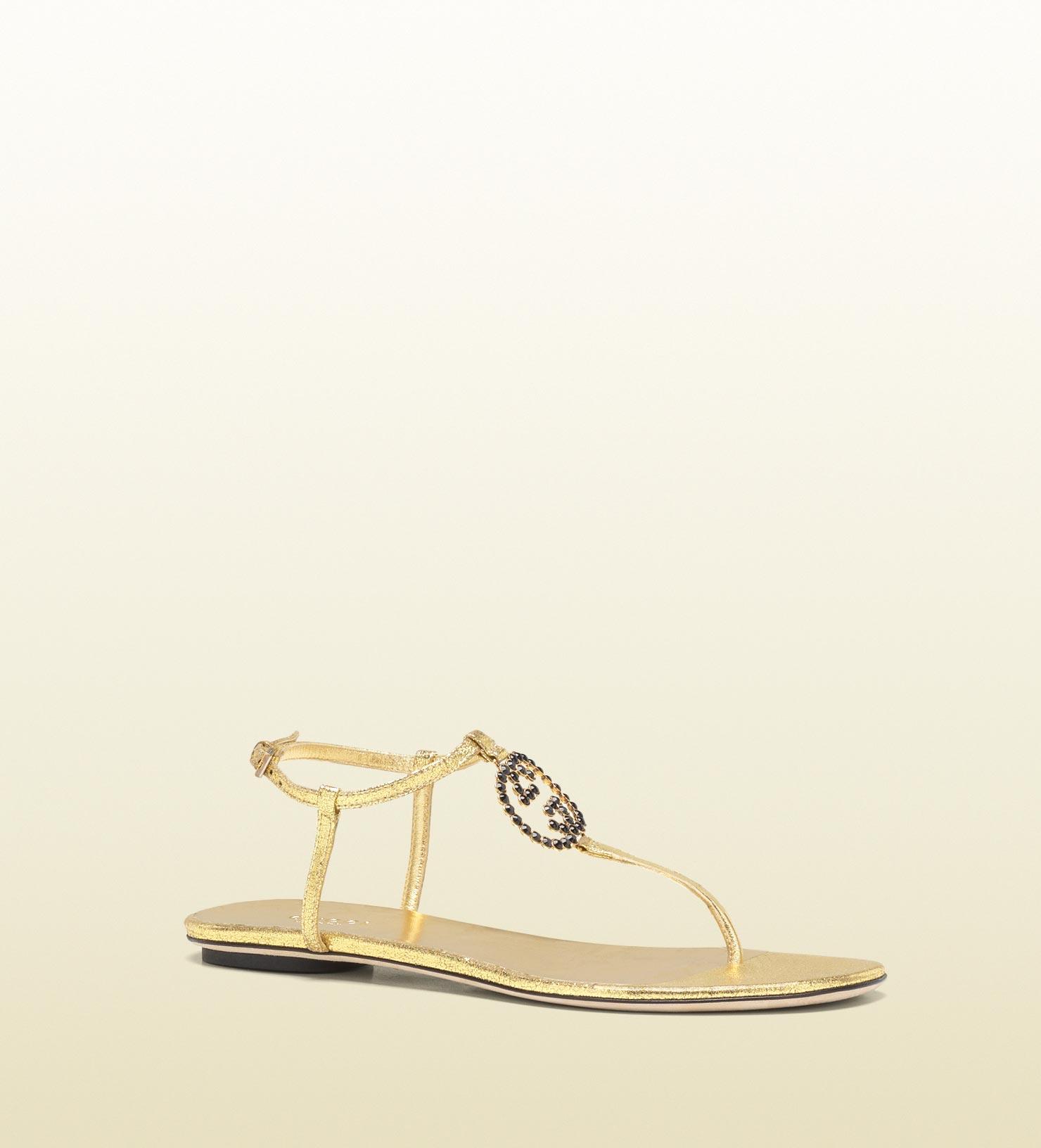 c4b9b36afeee Lyst - Gucci Katlin Jeweled Interlocking G Flat Thong Sandal in Metallic