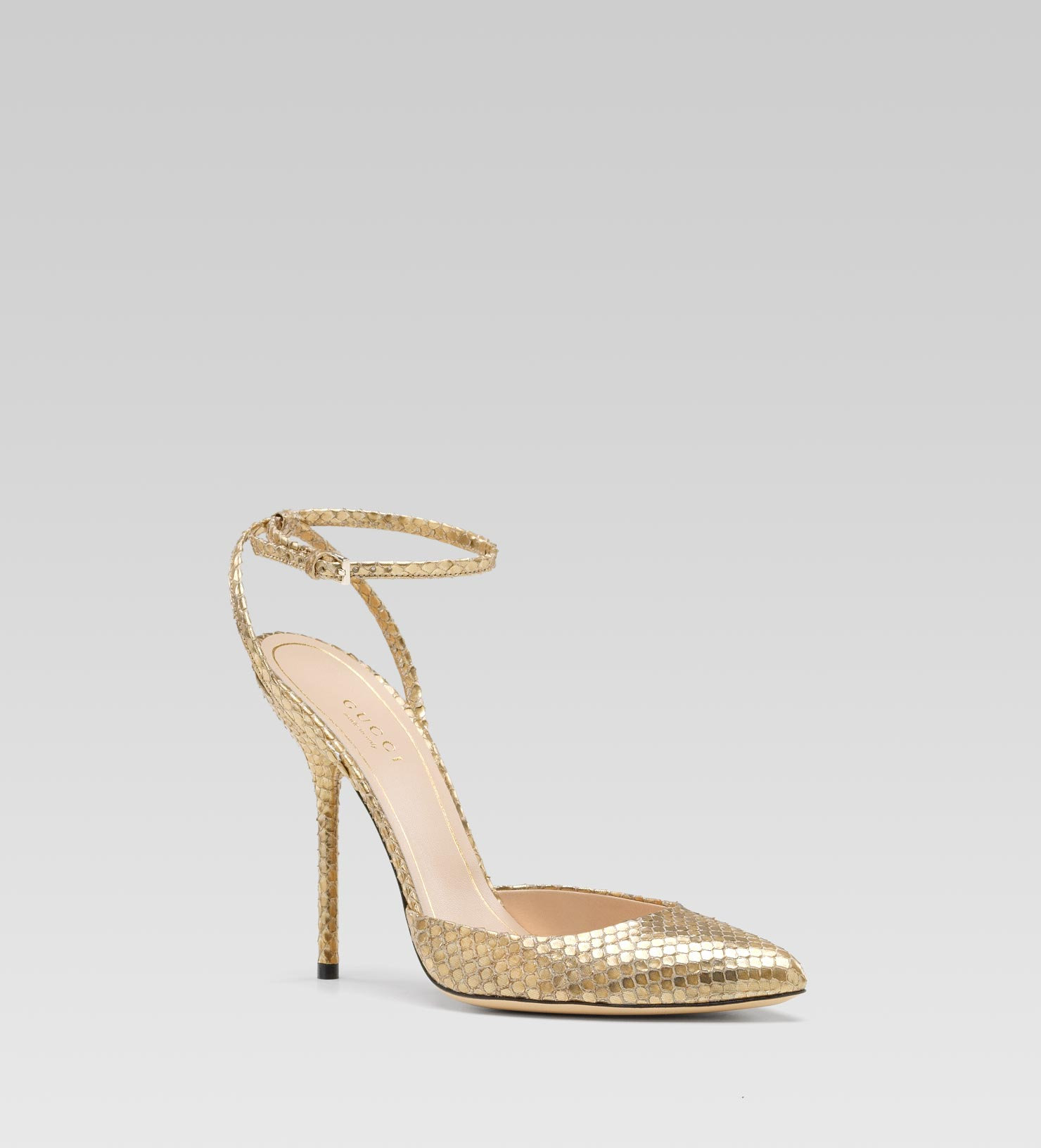 824d7aeb6691 Lyst - Gucci Noah High Heel Pointed Toe Pump with Ankle Strap in ...