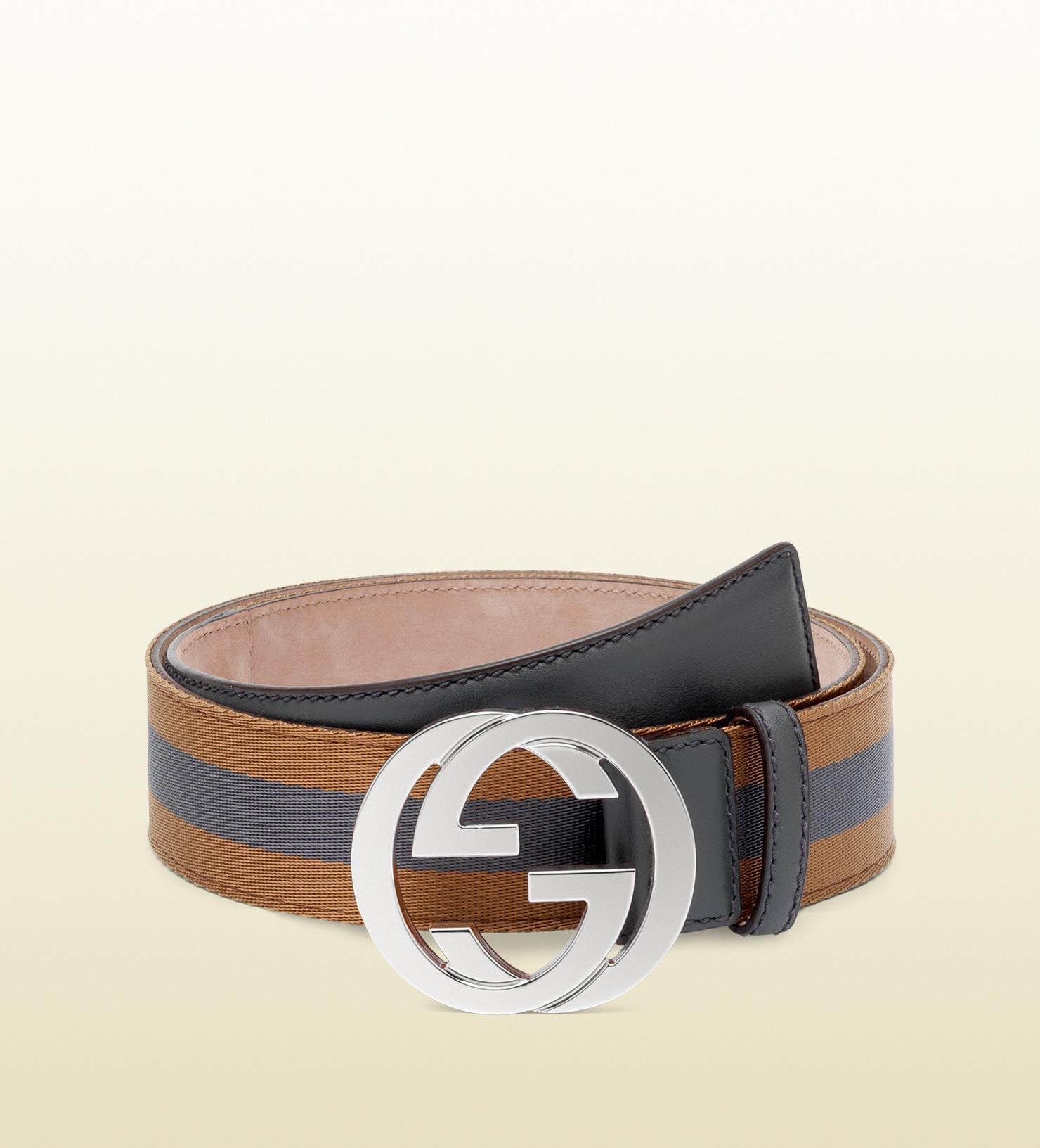 gucci belt with interlocking g buckle in brown for lyst