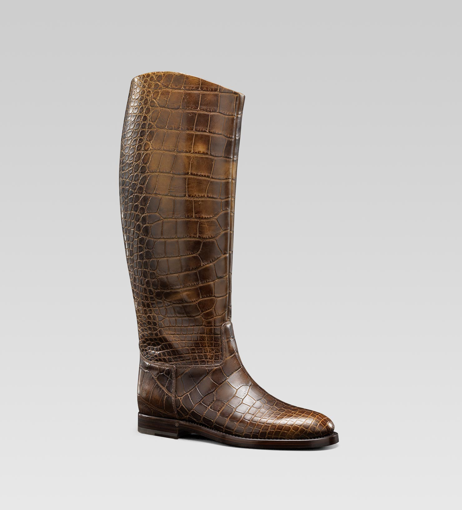 Gucci Mens Collection Riding Boot With Gucci Crest Detail