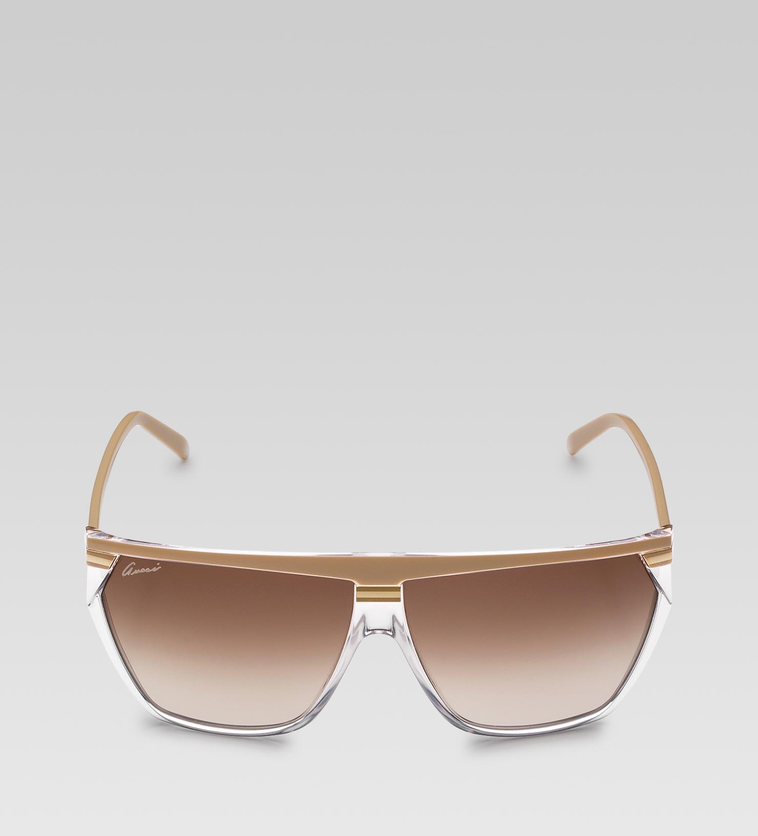 79e736668f1 Lyst - Gucci Medium Rectangle Frame Sunglasses with Gucci Logo On ...