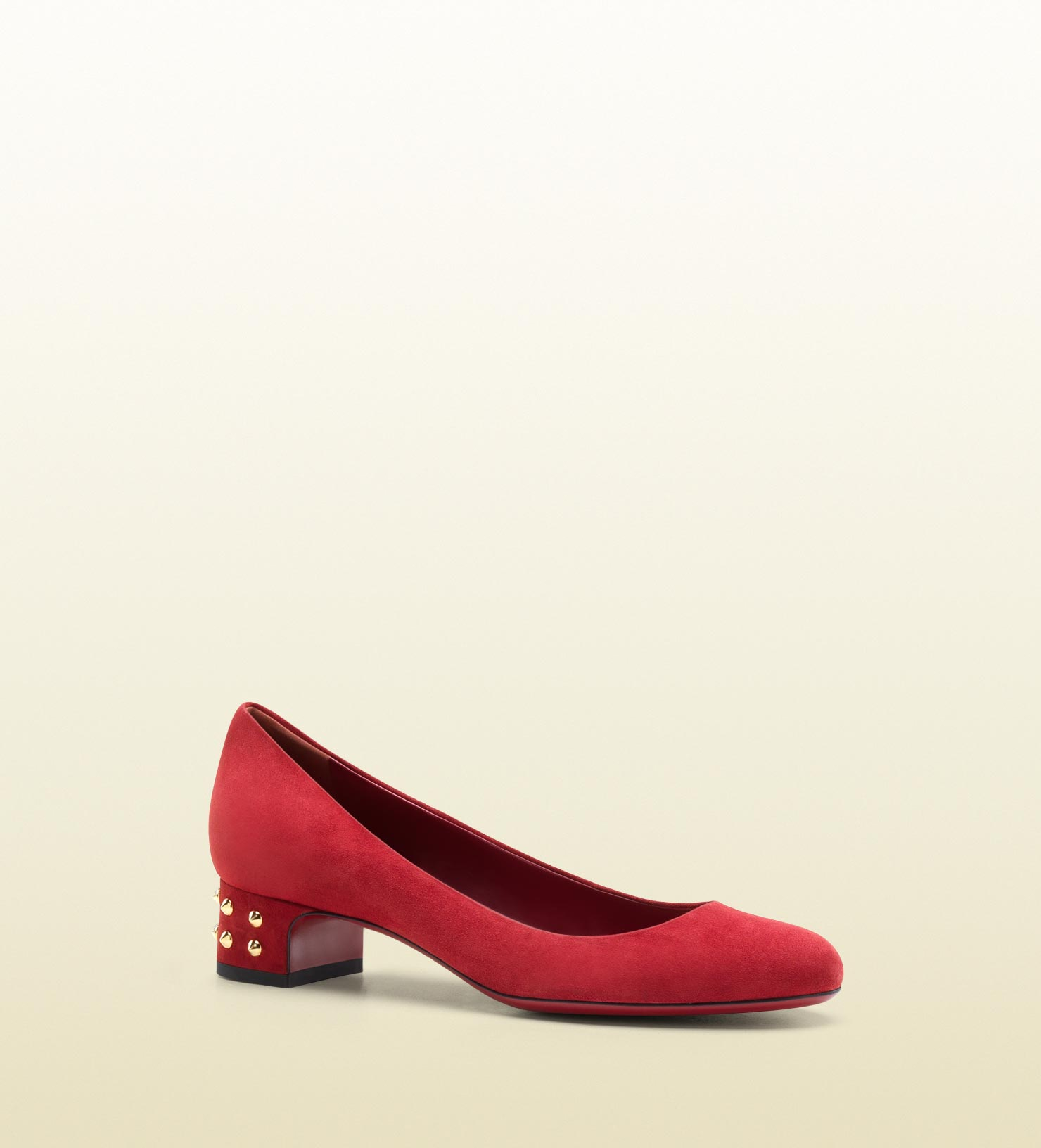 Gucci Jacquelyne Studded Low Heel Pump in Red  Lyst
