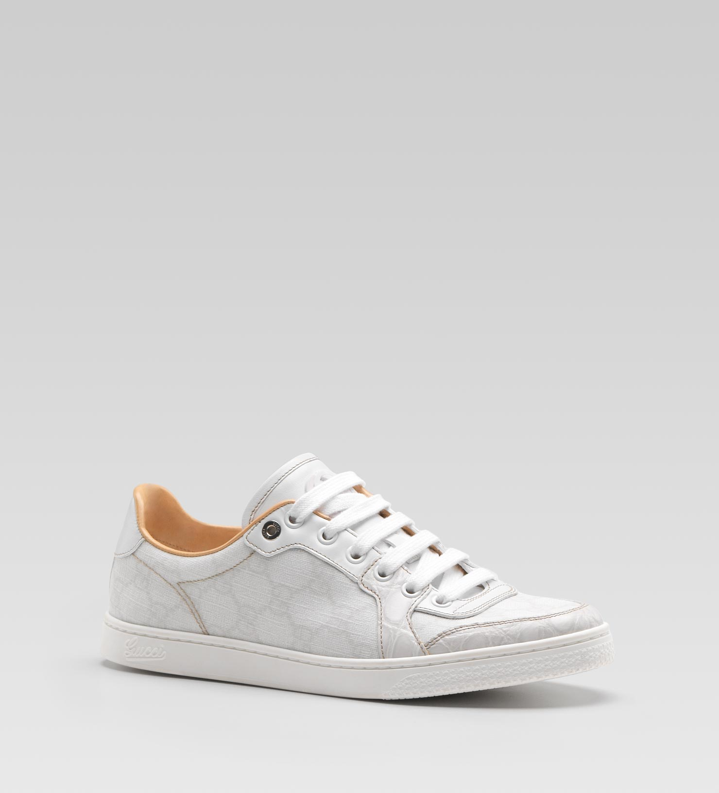 Lyst - Gucci Coda Low Laceup Sneaker with Interlocking G Detail in White 324523fe95