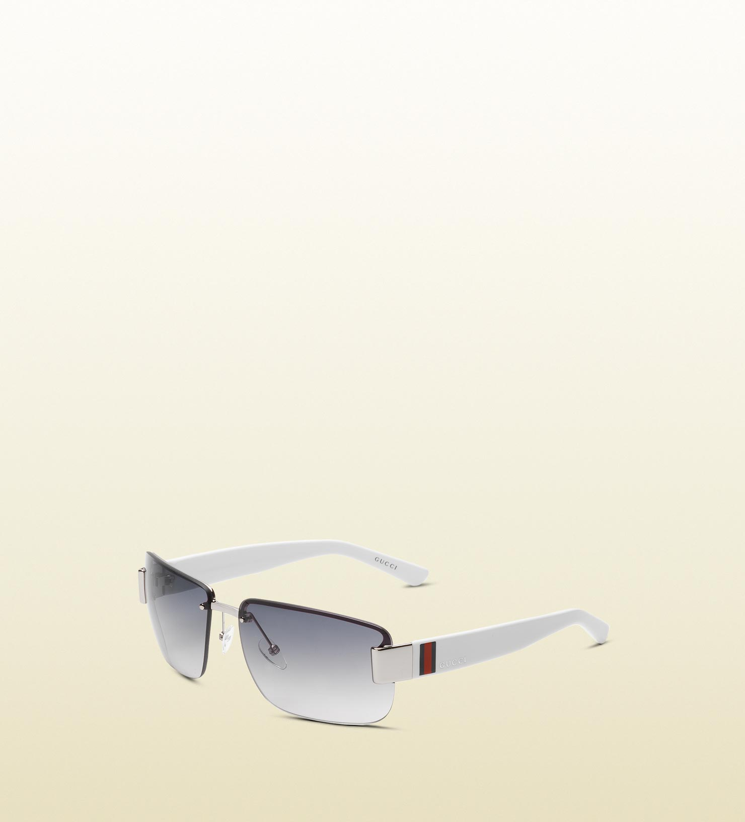 2fafbc281783 Gucci Medium Rimless Sunglasses With Logo And Signature Web Detail ...