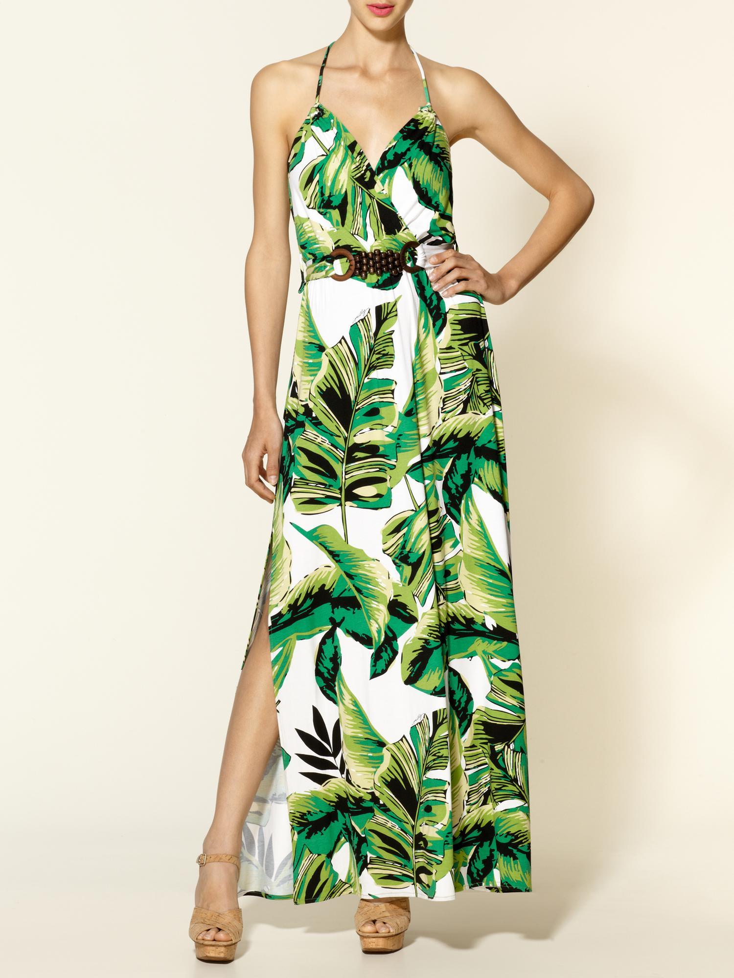 Milly Halter Banana Leaf Print Maxi Dress In Green Lyst
