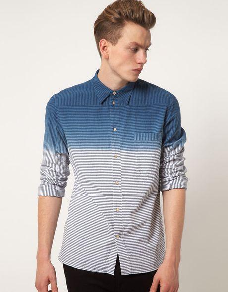 Paul smith dip dyed shirt in blue for men lyst for Mens dip dye shirt
