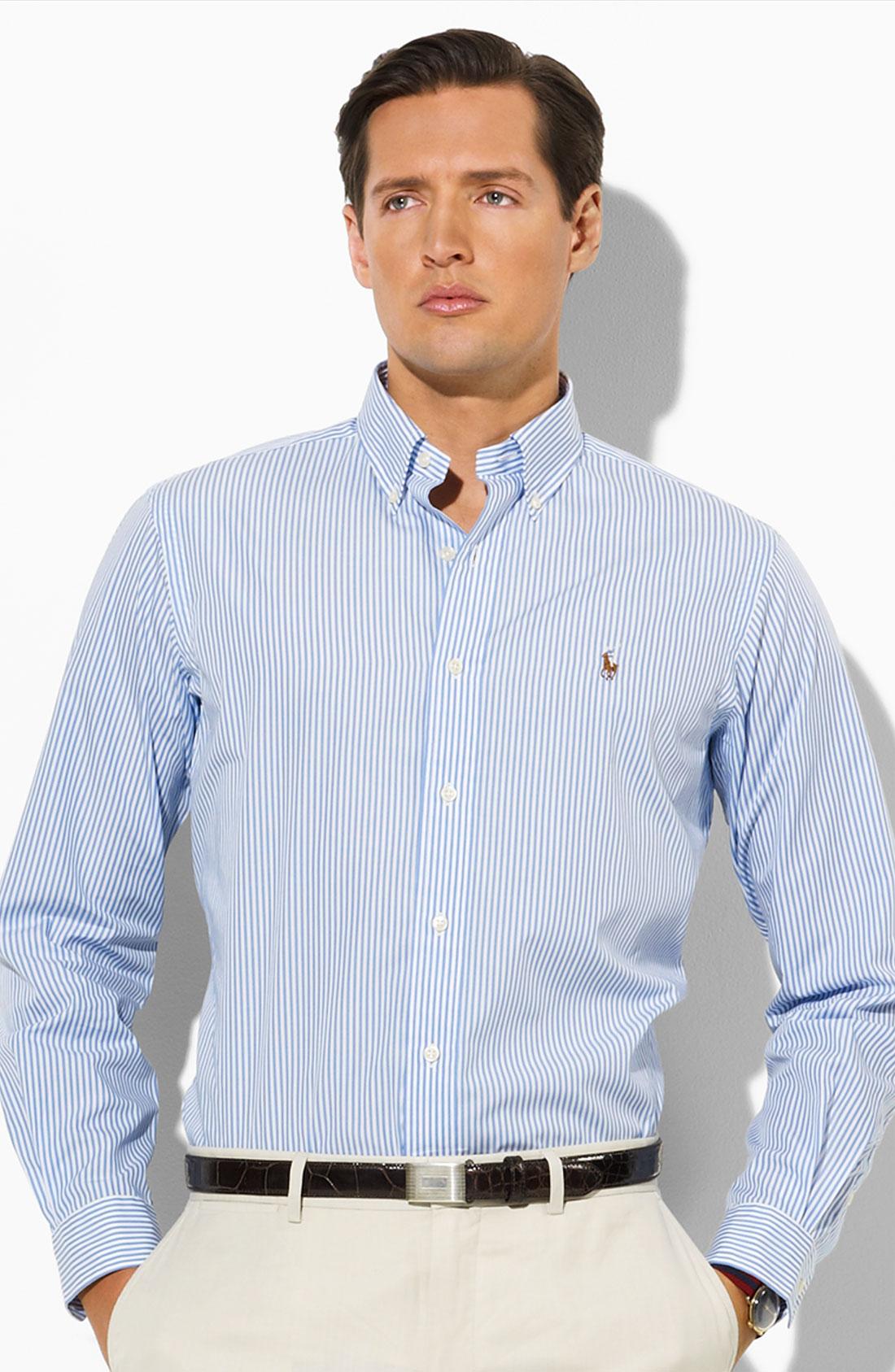 polo ralph lauren stripe sport shirt in blue for men lyst. Black Bedroom Furniture Sets. Home Design Ideas