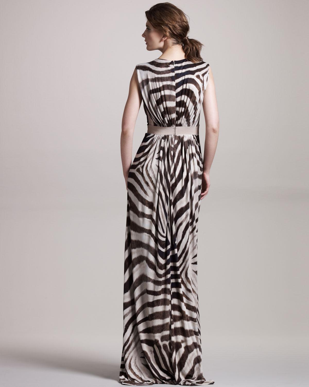 ef3282beda Lyst - Giambattista Valli Zebra-print Jersey Gown in Black