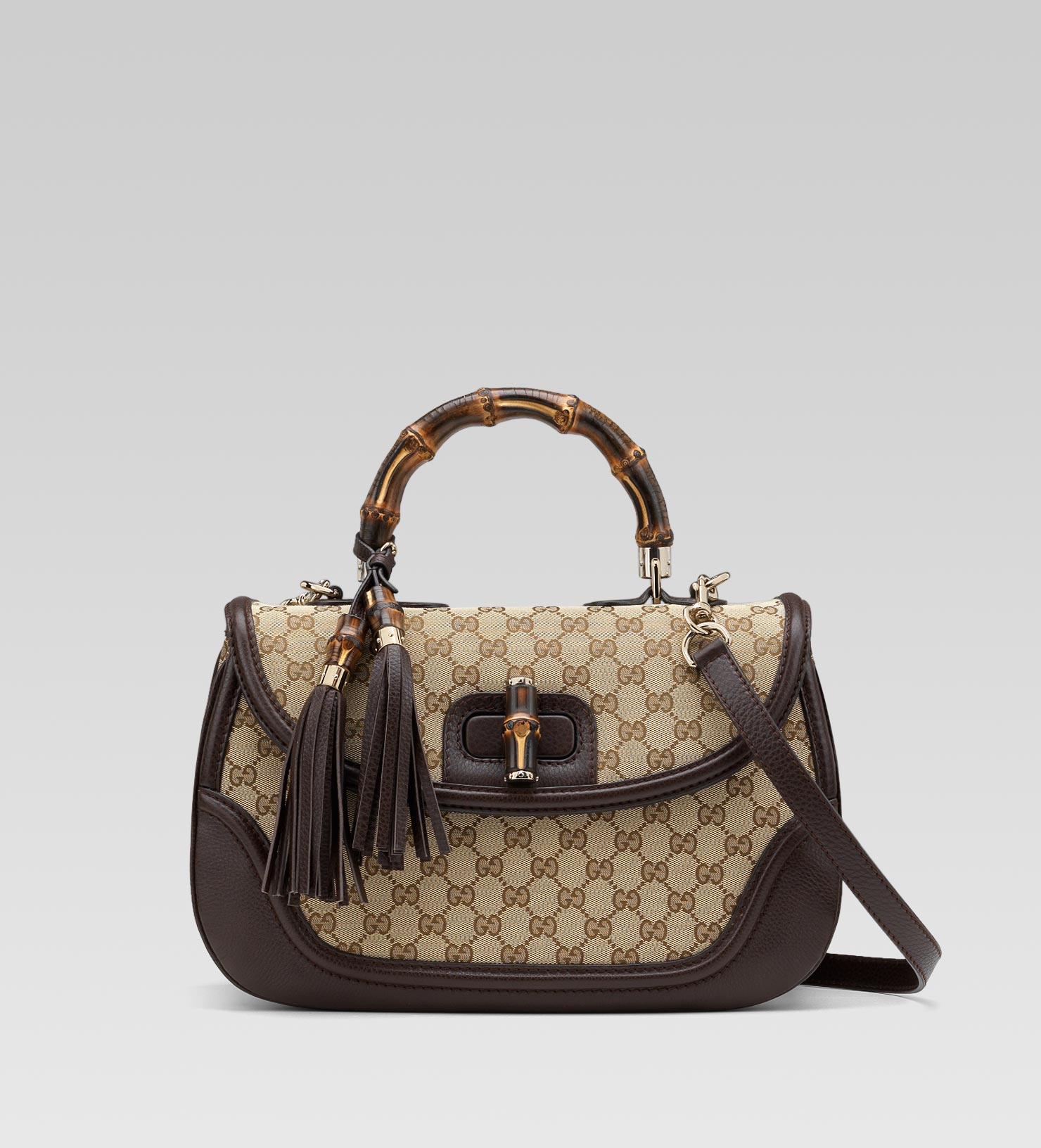 00db25189 Gucci New Bamboo Original Gg Canvas Top Handle Bag in Natural - Lyst