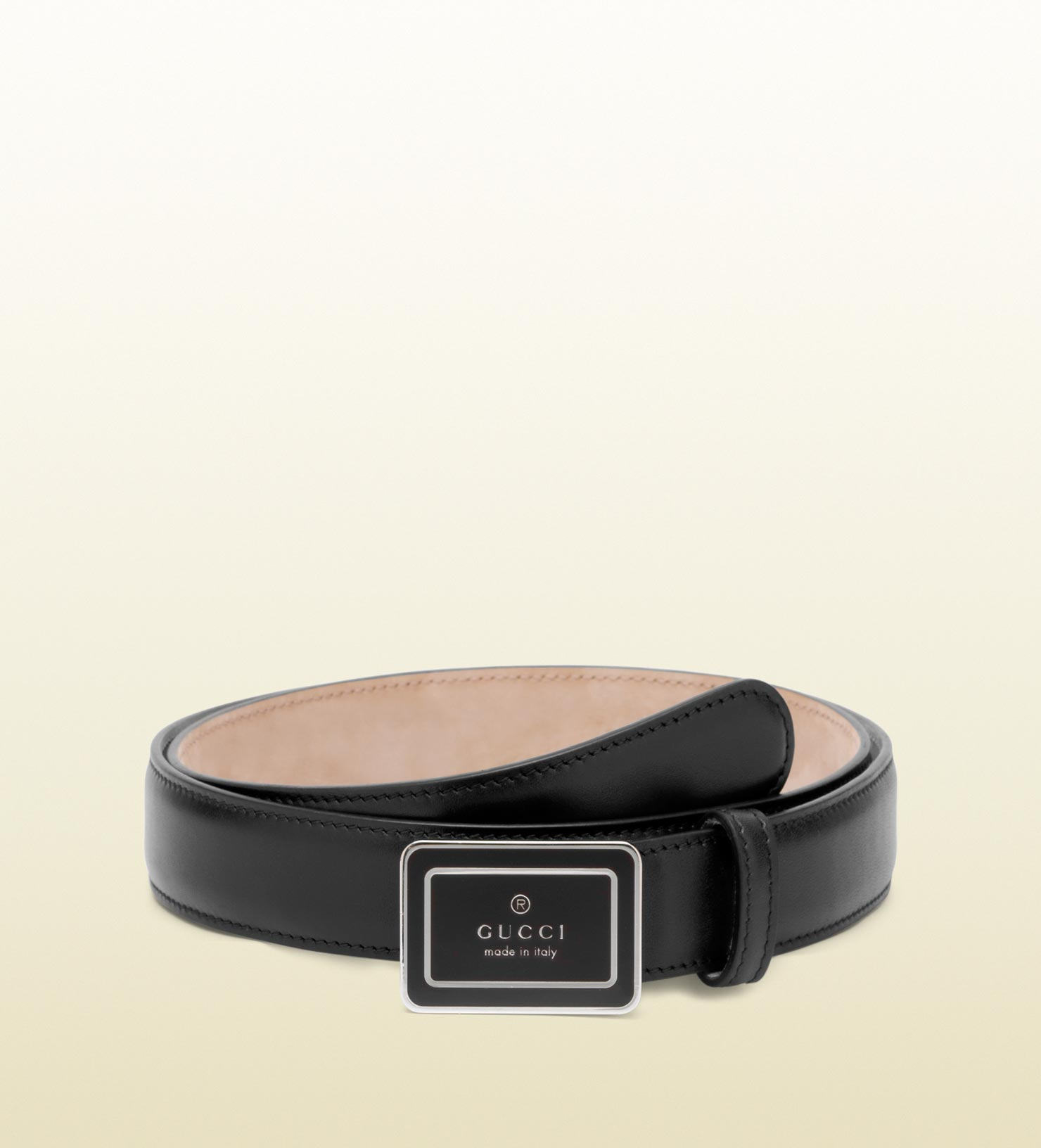 bf04b17c7 Lyst Gucci Belt With Enamel Plaque Buckle In Black For Men. Leather Belt  With Horsebit