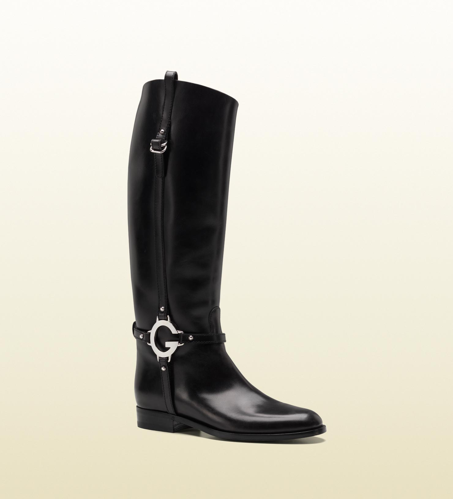 gucci new flat boot with g detail