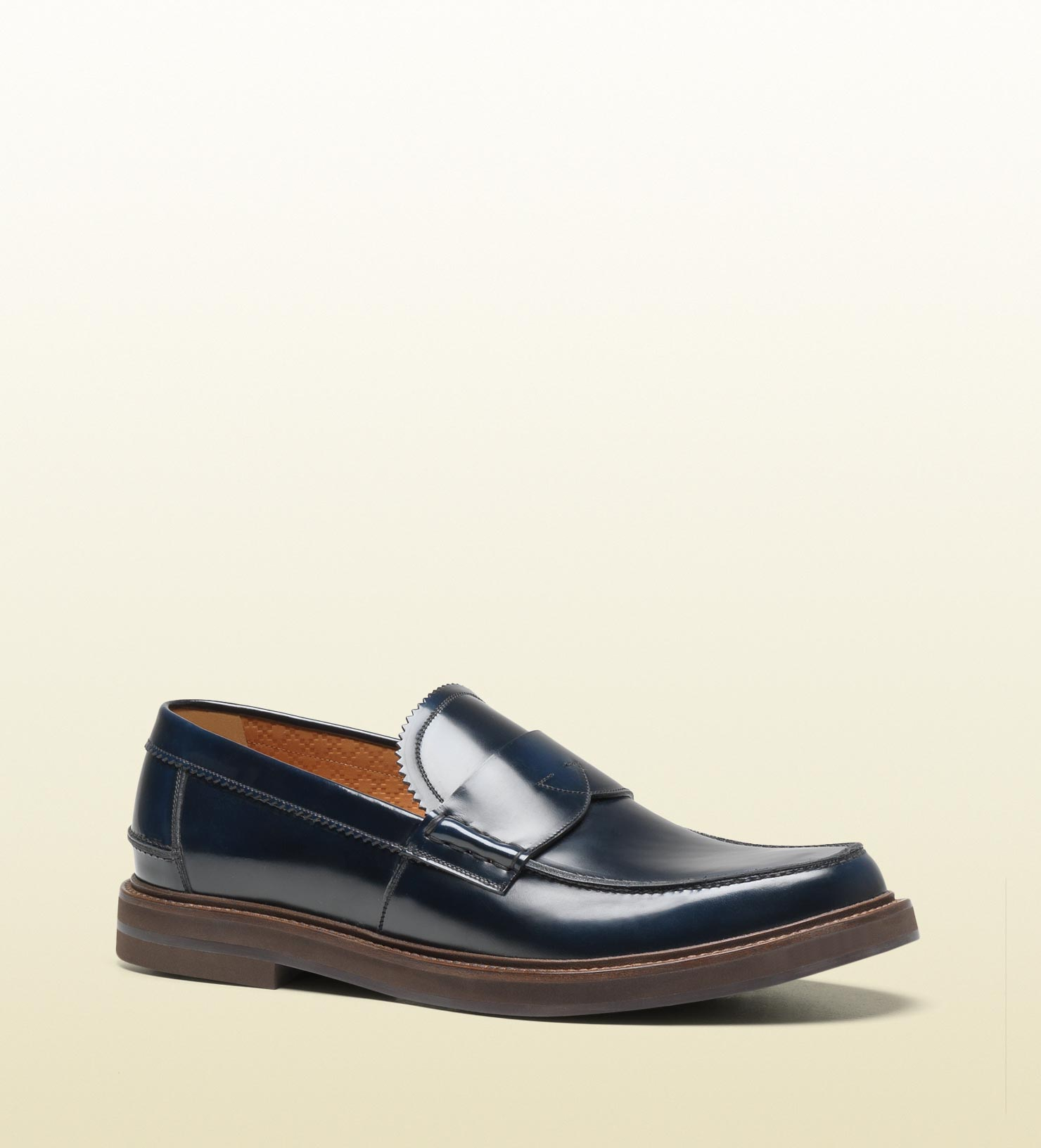 b402625a481 Lyst - Gucci Penny Loafer With Rubber Sole In Black For Men