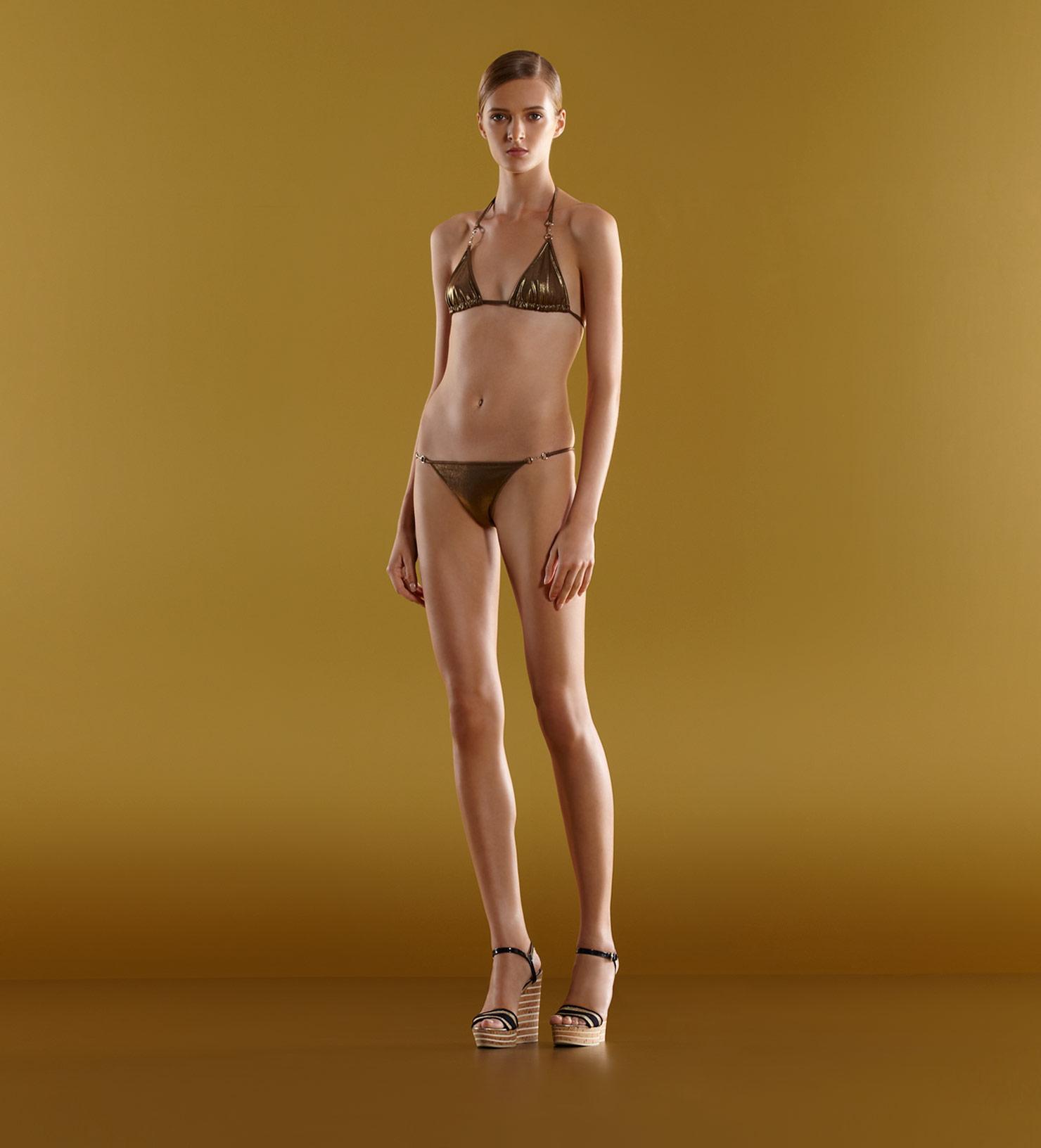 189a56f625427 Women's Metallic Triangle Top Bikini with Horsebit Detail