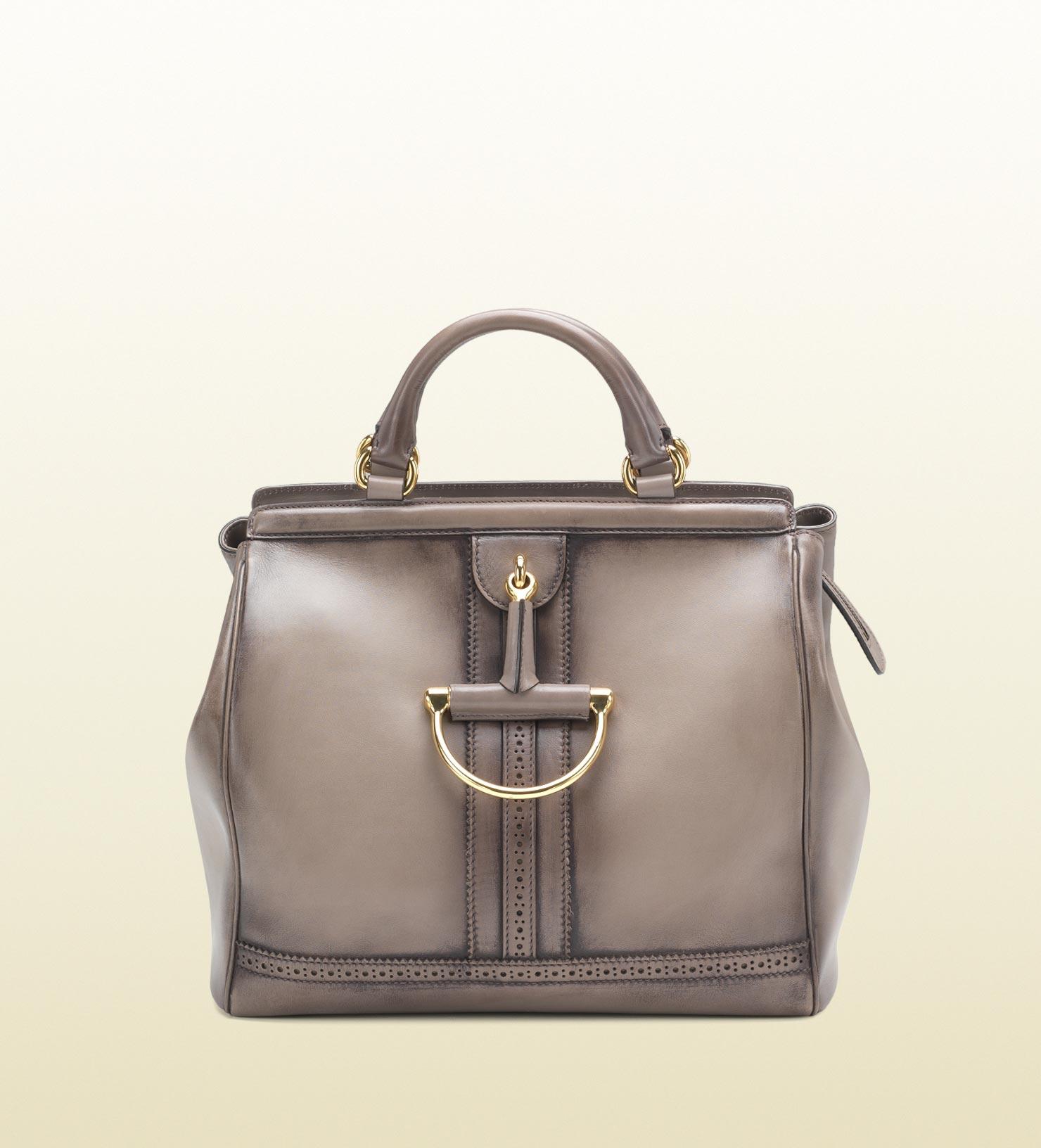a53879da7e38 Gucci Duilio Brogue Leather Top Handle Bag in Brown - Lyst