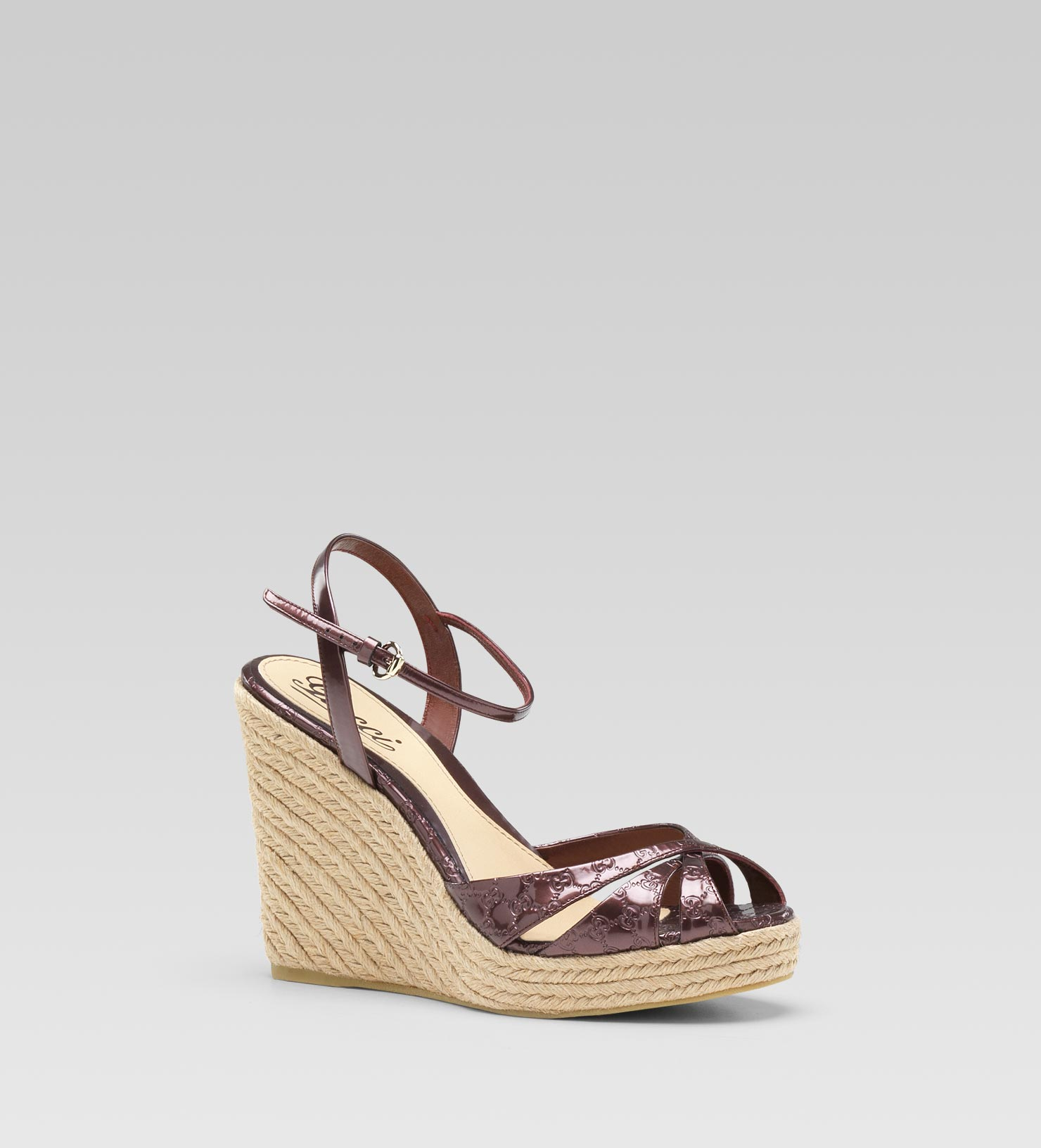 fab07cd4573388 Lyst - Gucci Penelope Strappy Espadrille Wedge Sandal in Purple