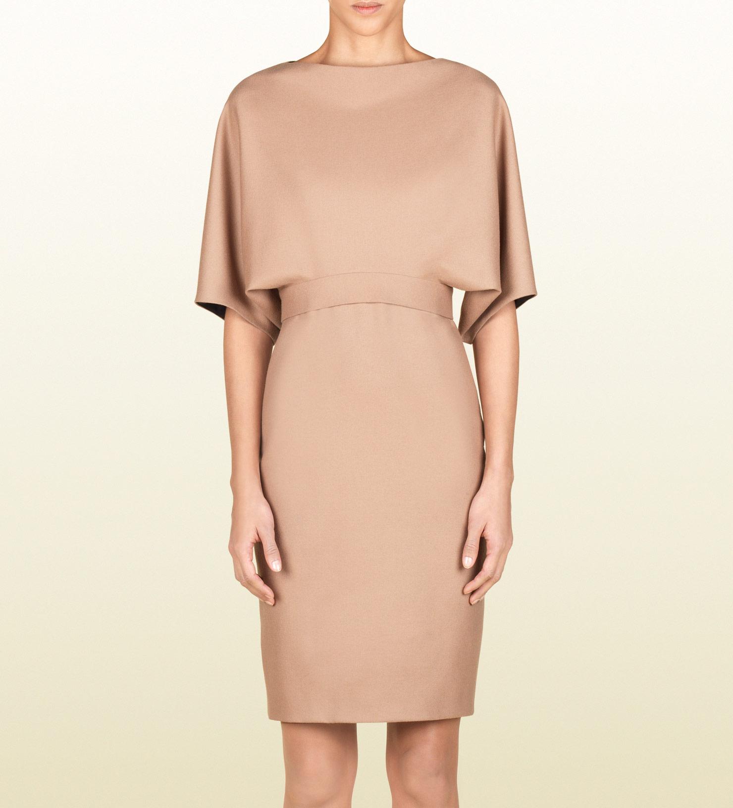 Gucci Cape Dress in Beige (camel) | Lyst
