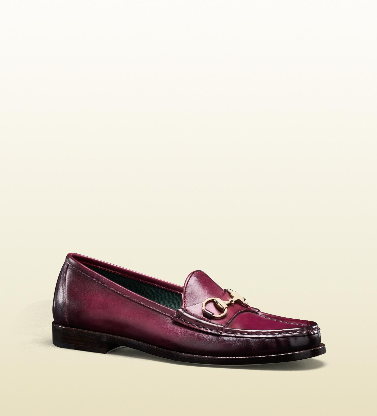 b5418af6a85 Lyst - Gucci Horsebit Moccasin in Cherry Color Hand Shaded Leather ...