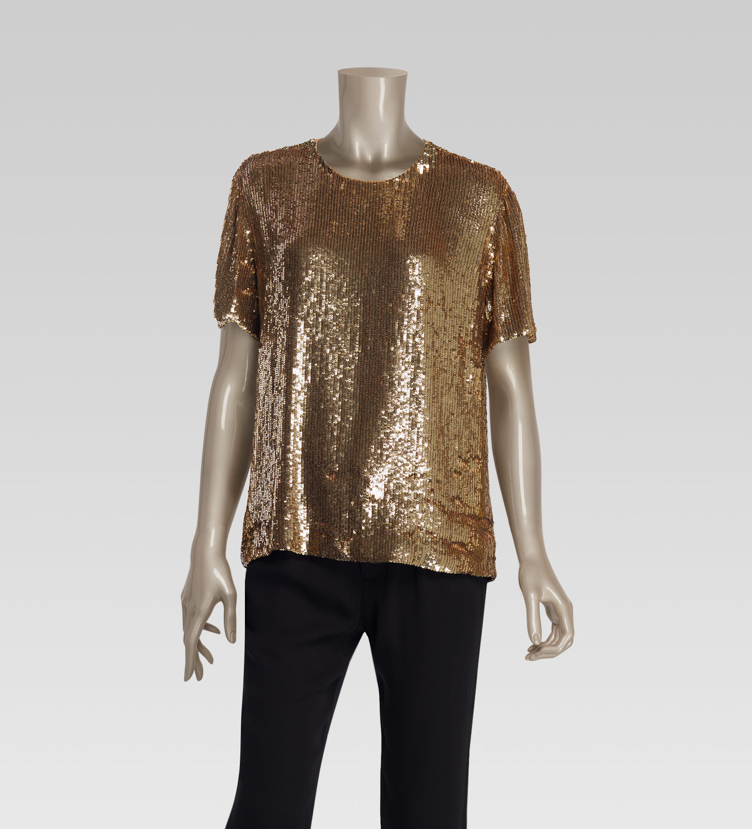 Gucci All Over Sequin Short Sleeve Top In Metallic Lyst
