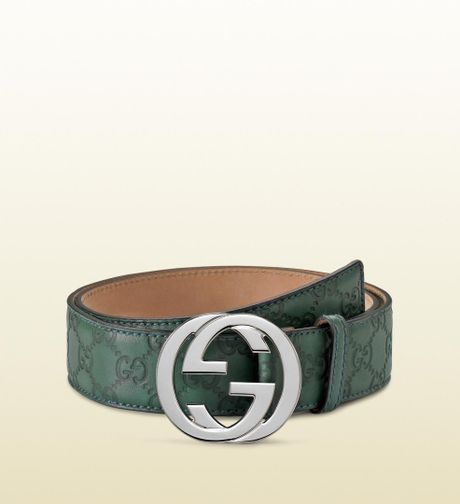 gucci belt with interlocking g buckle in green for men lyst