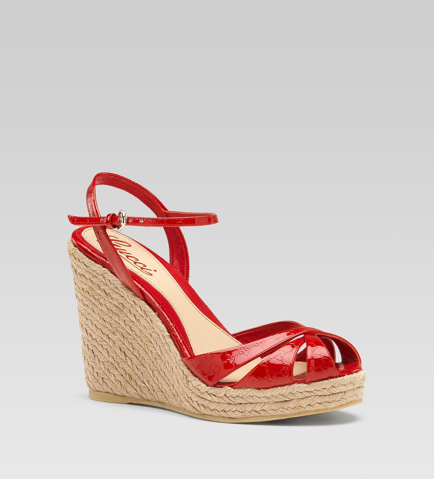 a03a4a98b6c8 Gucci Penelope Strappy Espadrille Wedge Sandal in Red - Lyst