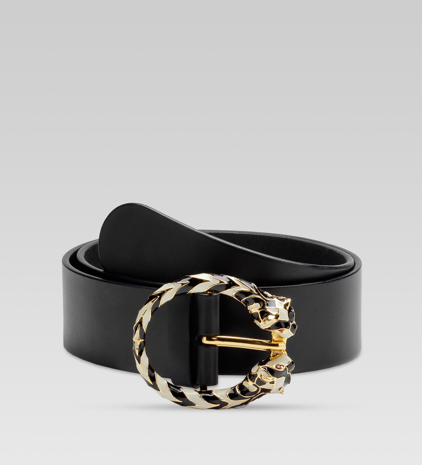 79d36e1b3f2 Gucci Belt with Two Enameled Tiger Heads Buckle with Swarovski ...