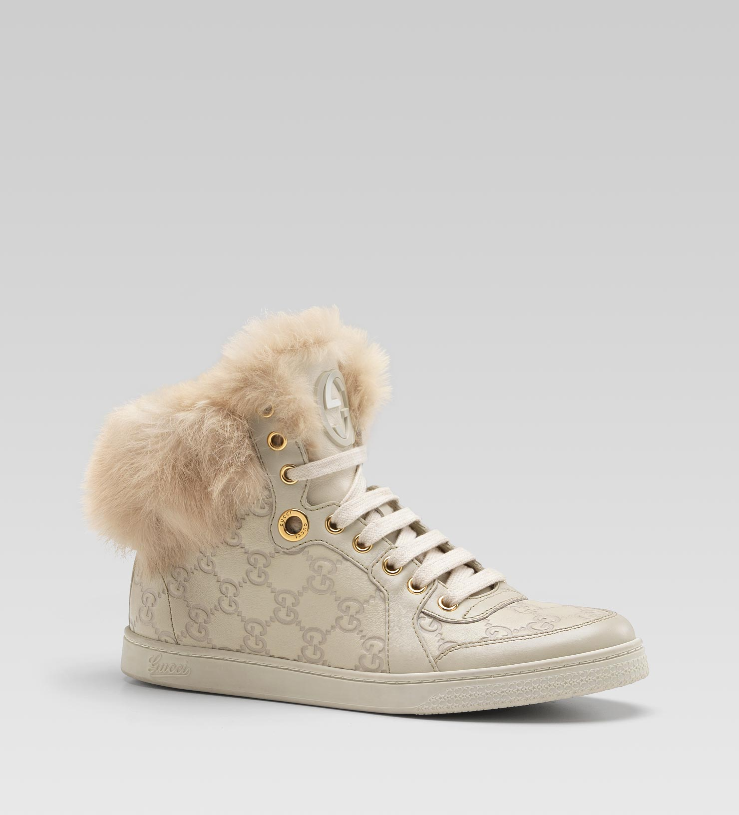 5f164e2a604 Lyst - Gucci Coda Fur-trim Hi-top Interlocking G Sneaker in Gray
