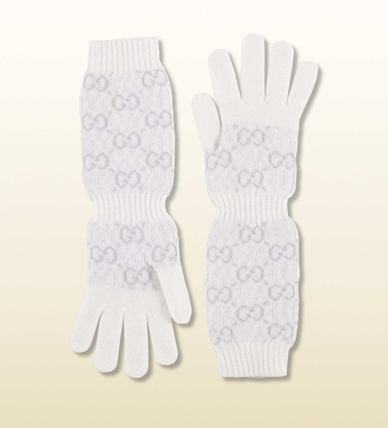 Knitting Pattern Long Gloves : Gucci Womens Knit Gg Pattern Long Gloves in White Lyst