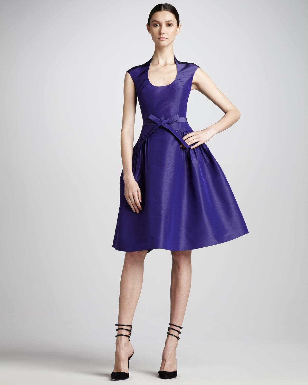 Gown Dressing Chauffaun: Monique Lhuillier Fullskirt Taffeta Dress In Purple