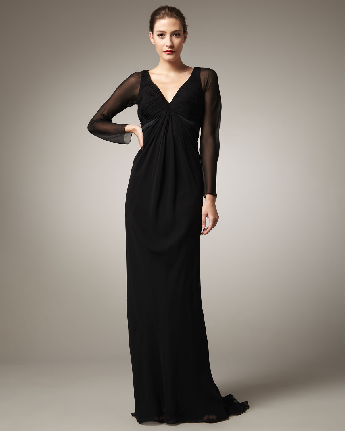 Pamella roland Long-sleeve Chiffon Gown in Black | Lyst