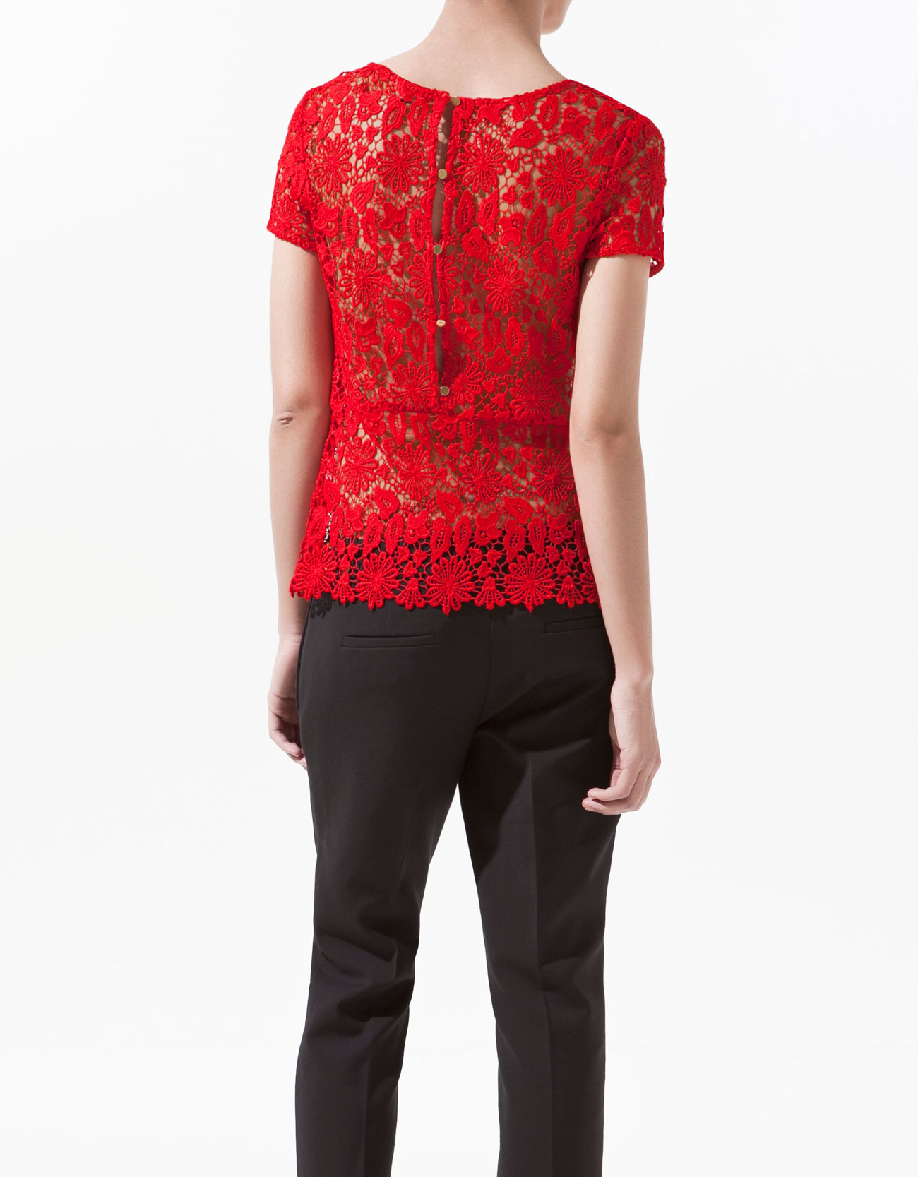 Zara Lace Top with Frill in Red | Lyst