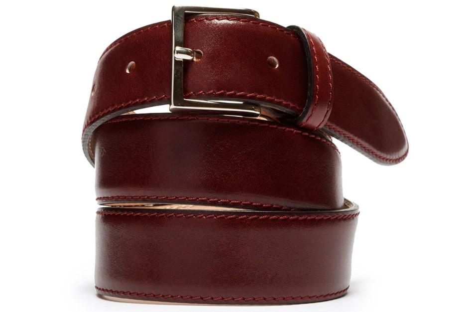 bonobos burgundy leather dress belt in purple for