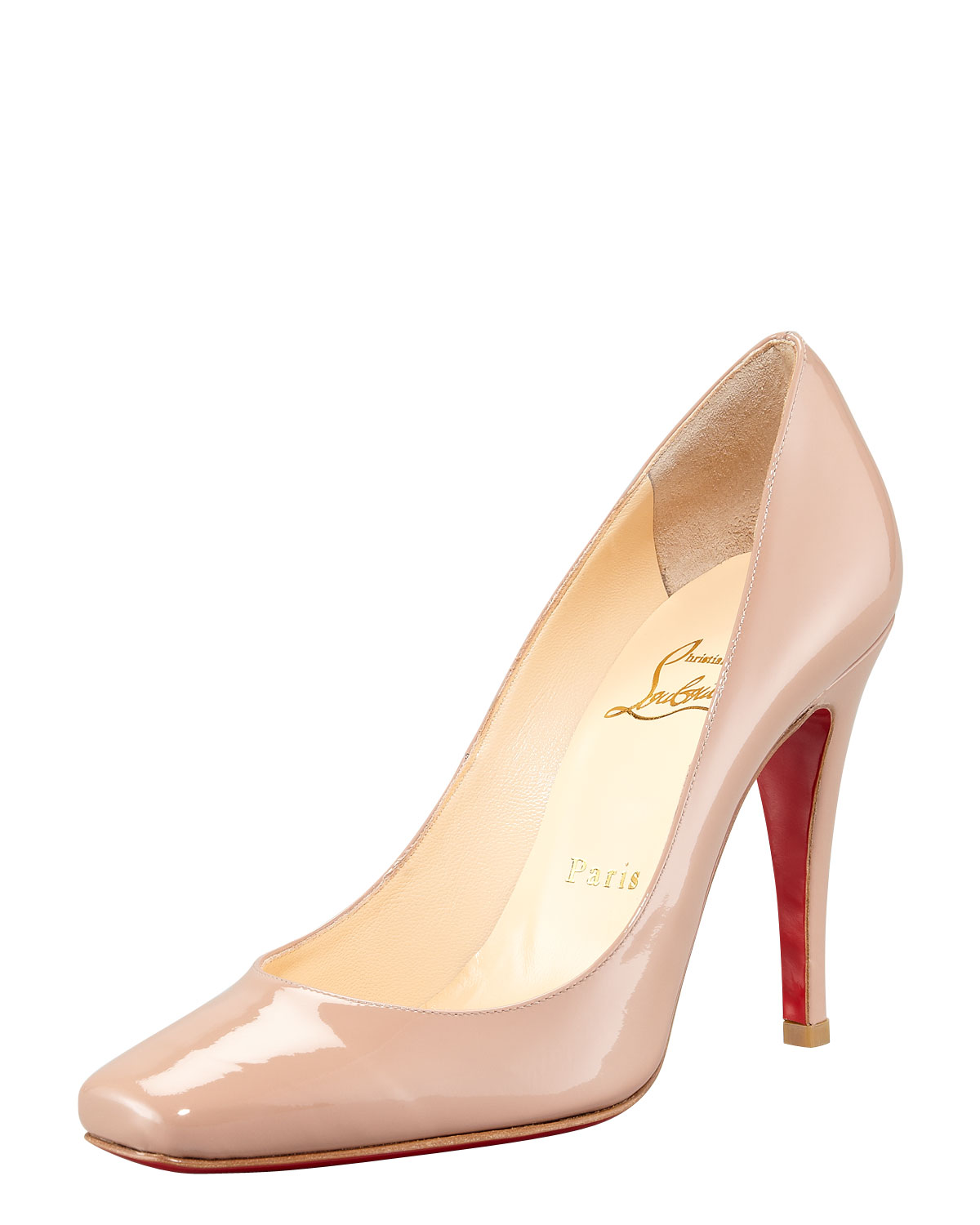 d5be9f0a47d ... christian louboutin Particule square-toe pumps Black patent leather  covered heels ...