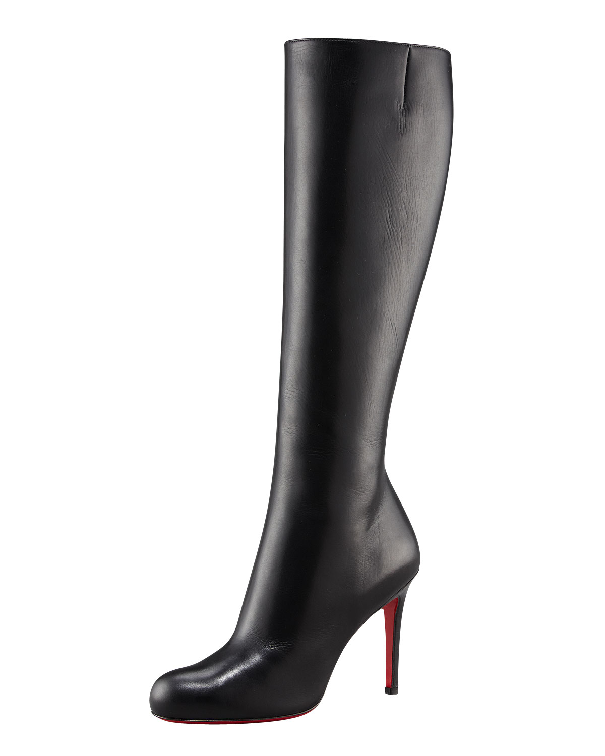 f9513fe2a4f2 Christian Louboutin New Simple Botta 120 Leather Knee Boots in Black ...