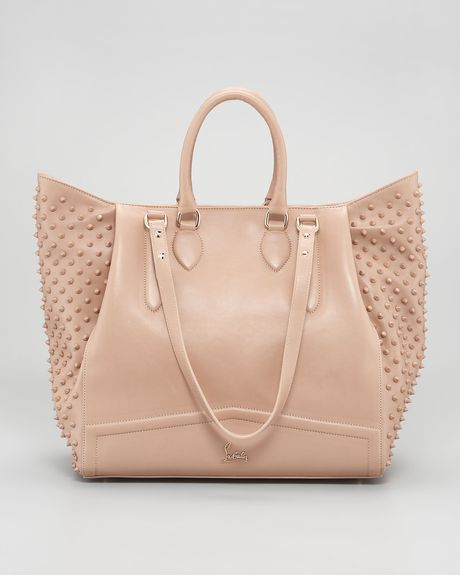Christian Louboutin Justine Spike Tote in Beige - Lyst