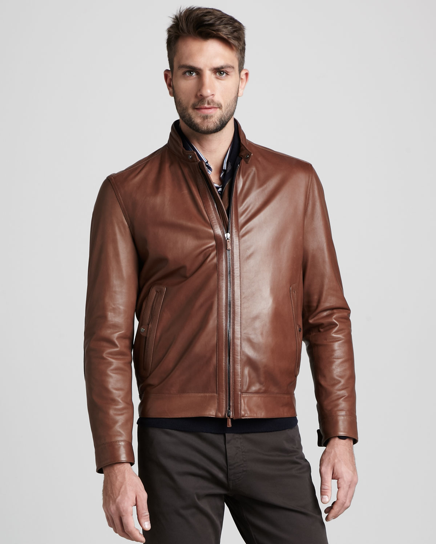 b79b0910 Ermenegildo Zegna Brown Reversible Leather Bomber Jacket for men