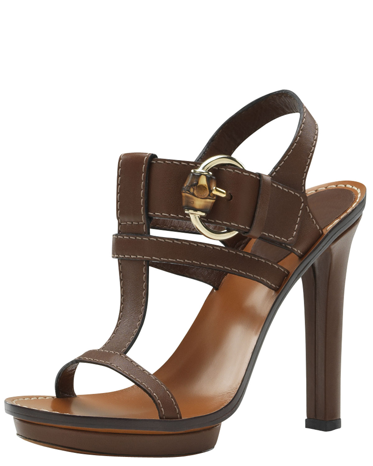 gucci gwen high heel platform sandal in natural lyst. Black Bedroom Furniture Sets. Home Design Ideas
