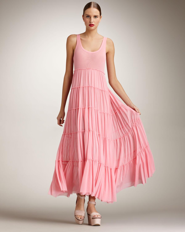 Jean paul gaultier Tiered Maxi Dress in Pink | Lyst